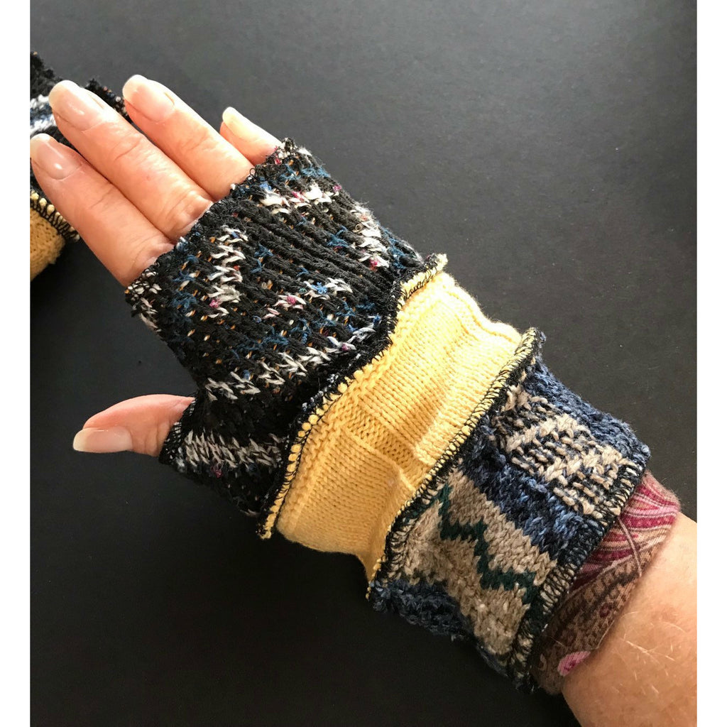 Up-cycled Recycled sweater texting fingerless gloves with thumb guards