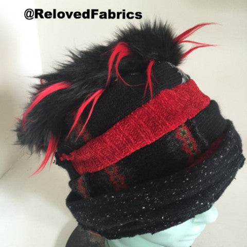 Red spike fake fur upcycled sweater hat - BY REQUEST ONLY - RelovedFabrics,Hats/Chapeaus/Head Gear - accessories, [product-vendor] - Robin, [shop-name] - robin.boutique