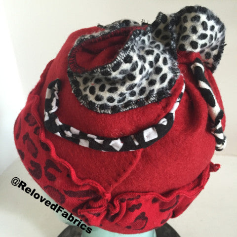 Hand Stitched red wool felt hat BY REQUEST ONLY