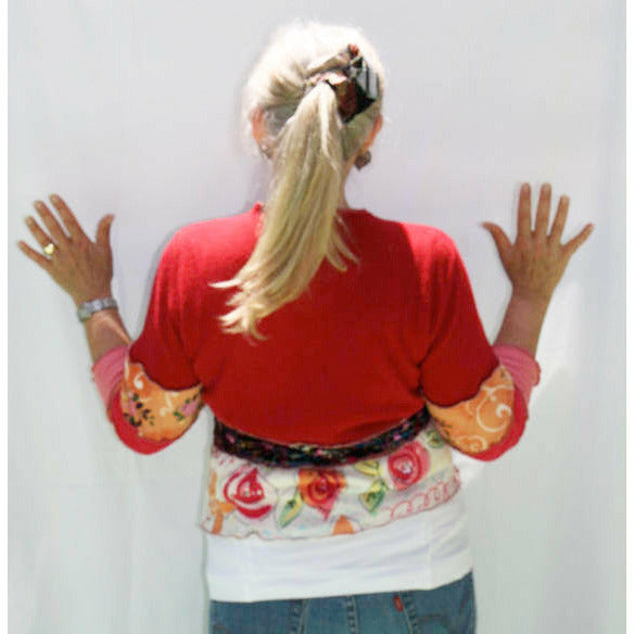 Vegan upcycled recycled repurposed knit cropped cardigan for Sugarloaf crafts festival chantilly va