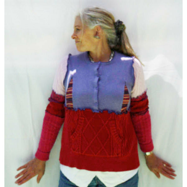 Vegan Cotton Knit Pullover Sweater Jumper With Side Pockets and Button Neck. Red, Purple and Multi. Size M/L.