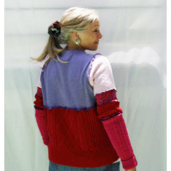 Vegan Cotton Knit Pullover Sweater Jumper With Side Pockets and Button Neck. Red, Purple and Multi. Size M/L. - RelovedFabrics,Sweater - accessories, [product-vendor] - Robin, [shop-name] - robin.boutique