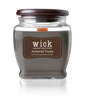Wick Scented Jar Candle, Wooden Wick and Top, Ambered Tonka, 15 oz, Single