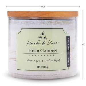 Carolina Scented Jar Candle, Finch & Vine, Herb Garden, 14.5 Oz, Single