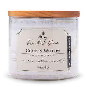 Carolina Scented Jar Candle, Finch & Vine, Cotton Willow, 14.5 Oz, Single