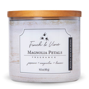 Carolina Scented Jar Candle, Finch & Vine, Magnolia Petals, 14.5 Oz, Single