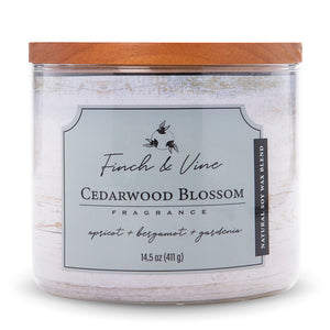 Carolina Scented Jar Candle, Finch & Vine, Cedarwood Blossom, 14.5 Oz, Single