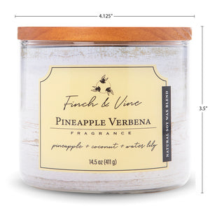 Carolina Scented Jar Candle, Finch & Vine, Pineapple Verbena, 14.5 Oz, Single
