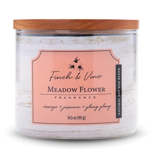 Carolina Scented Jar Candle, Finch & Vine, Meadow Flower, 14.5 Oz, Single