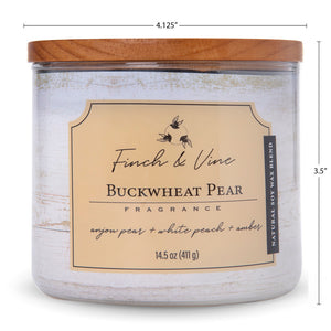 Carolina Scented Jar Candle, Finch & Vine, Buckwheat Pear, 14.5 Oz, Single