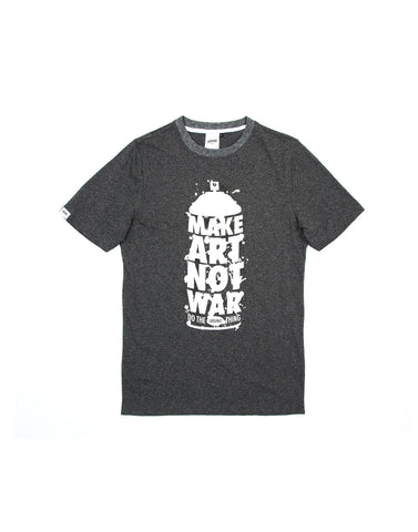 Make Art Not War Dark Heather Grey Tshirt, 9 Couture - 9Couture