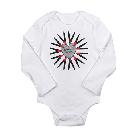 Take Action, Be Kind Hearts Longsleeve Baby Bodysuit