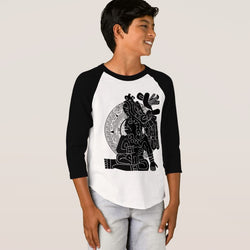 Aztec Warrior Boy's American Apparel 3/4 Sleeve Raglan T-Shirt