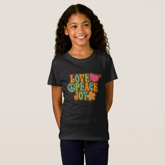 Love, Peace, and Joy Girl's Fine Jersey T-Shirt