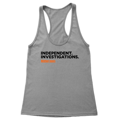 Independent. Investigations. (Black/Orange) Women's Racerback Tank