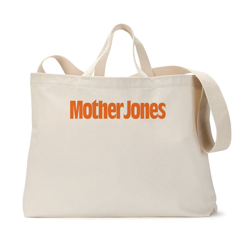 Mother Jones Logo (Orange) Tote Bag