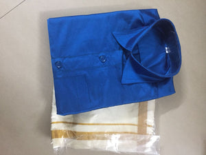 Blue shirt and white veshti/ dhothi ready made set