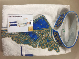 Blue and white embroidered ready made kurtha set