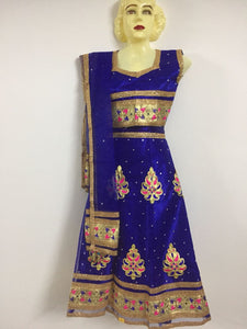 Gold embroidered blue lehanga
