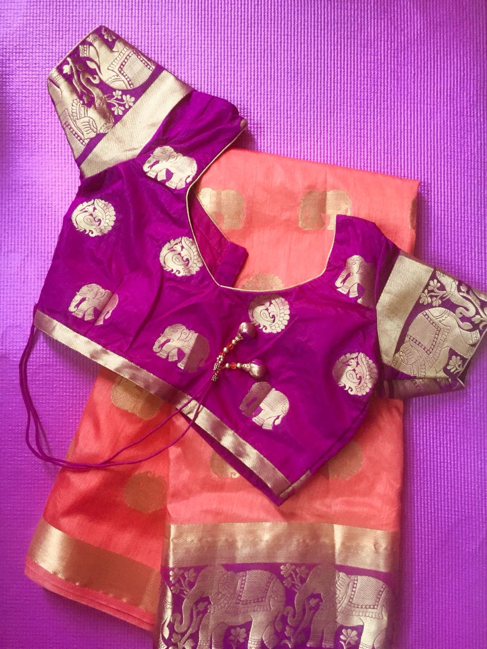 Cotton silk saree with stitched saree blouse