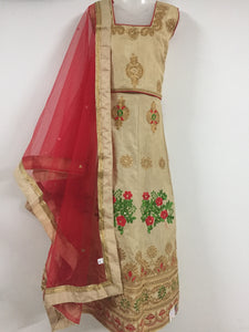Embroided and Stone Worked Lehenga (Ivory & Red)