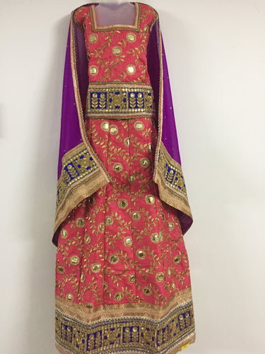 Embroided and Stone Worked Lehenga (Crimson & Purple)