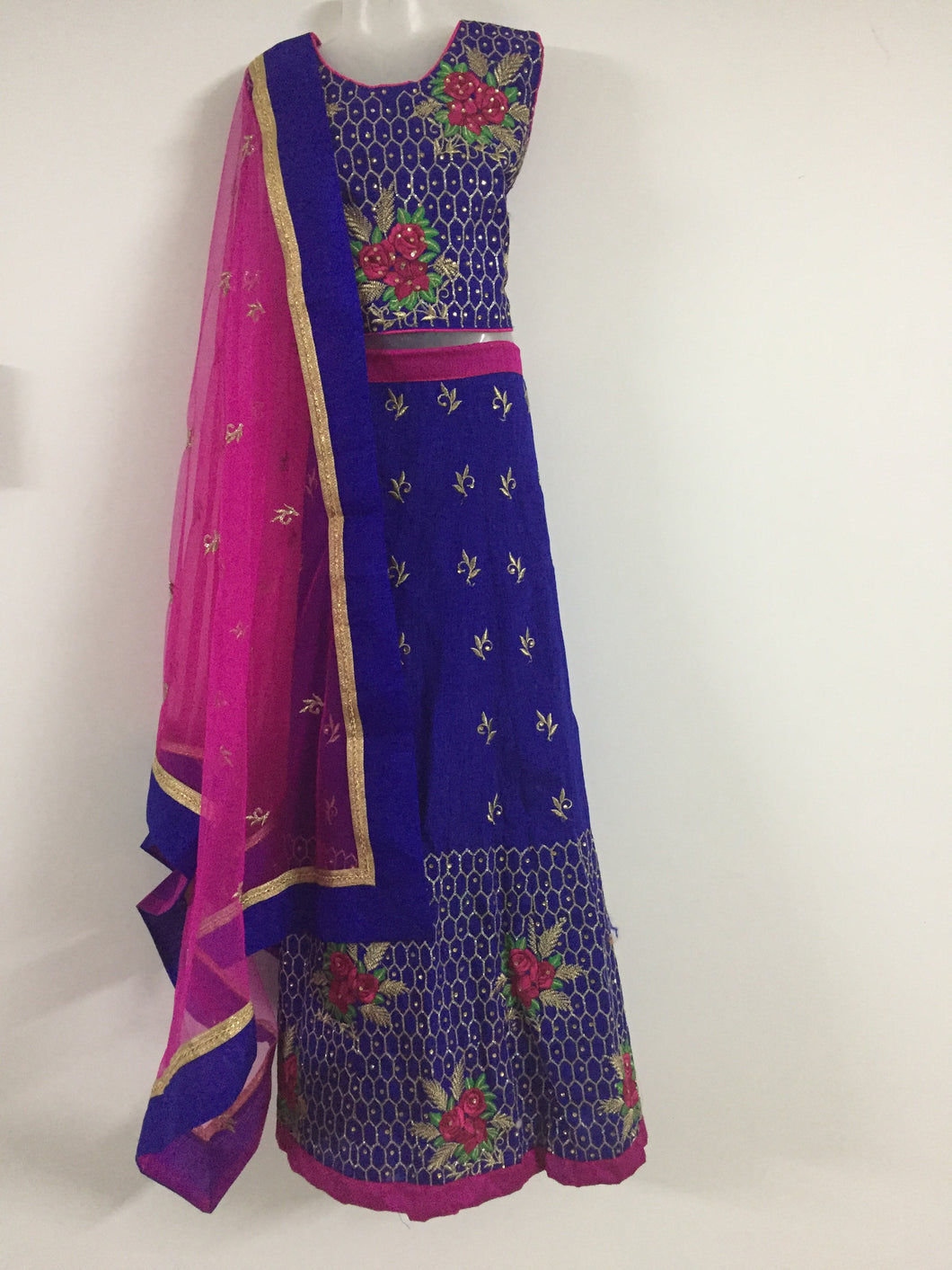 Embroided and Stone Worked Lehenga (Violet & Pink)