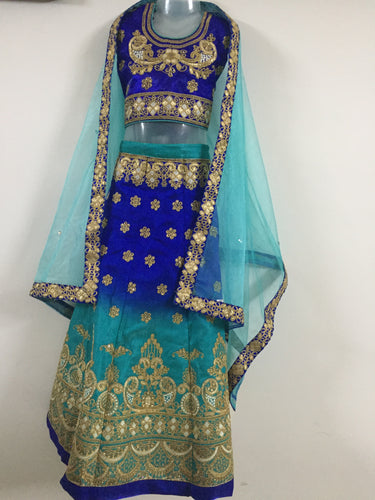 Embroided and Stone Worked Lehenga (Blue)
