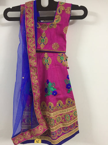 Embroided and Stone Worked Lehenga (Pink)