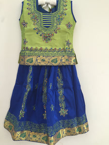 Embroided Pattu Pavadai / Pattu Langa (Green & Blue)