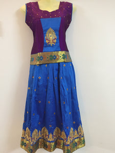 Stone Worked Pattu Pavadai / Pattu Langa (Purple & Blue)