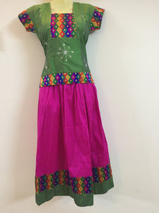 Stone Worked Pattu Pavadai / Pattu Langa (Green & Pink)