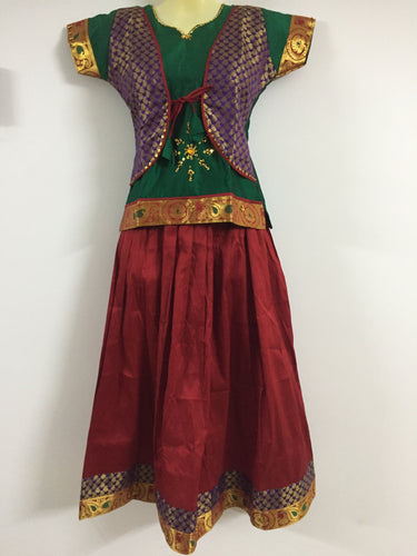 Stone Worked Pattu Pavadai / Pattu Langa (Green & Maroon)
