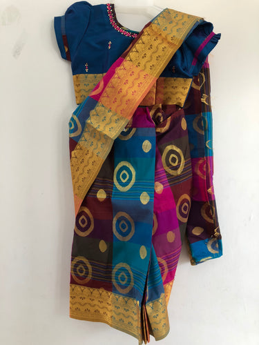 Kids Stone Worked Saree (Blue)