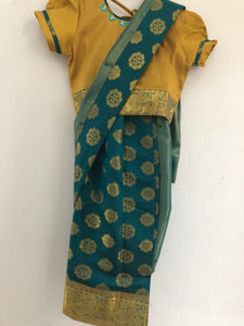 Kids Stone Worked Saree (Green & Orche)