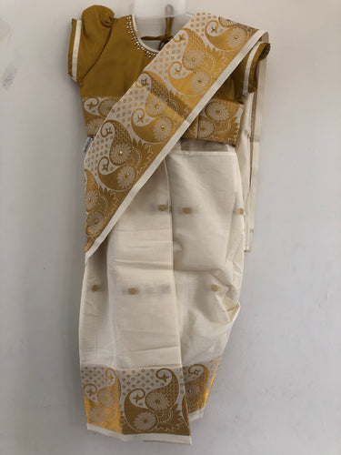 Kids Stone Worked Saree (White & Orche)