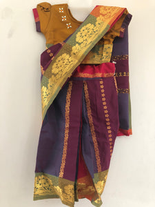 Kids Stone Worked Saree (Purple & Orche)