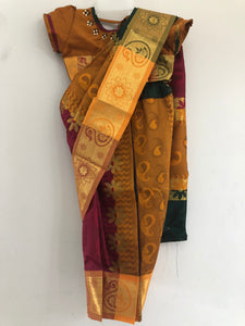 Kids Stone Worked Saree (Yellow Orche)