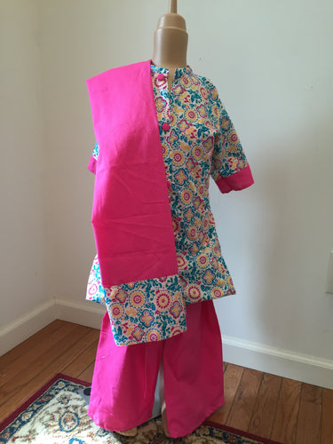 Printed Pink Matching Pallazo Pant Shalwar - ( 8 to 11 Year Olds )
