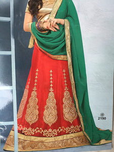 Embroided Lehenga (Green & Red)