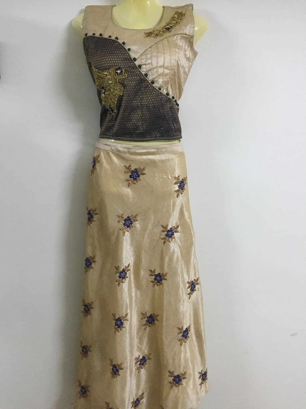 Embroided and Stone Worked Lehenga (Bronze Colour)