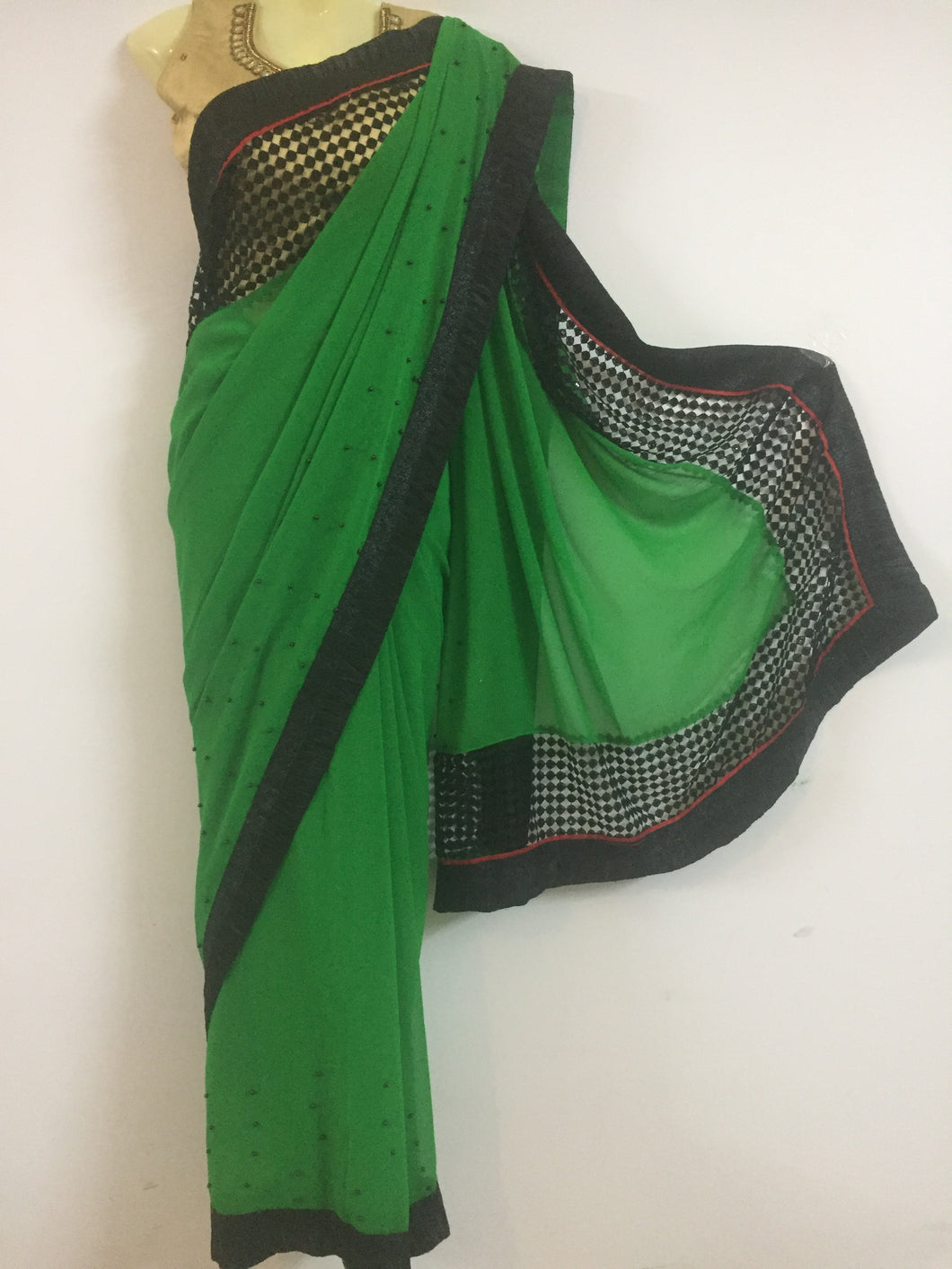 Crepe - Net Saree (Green)