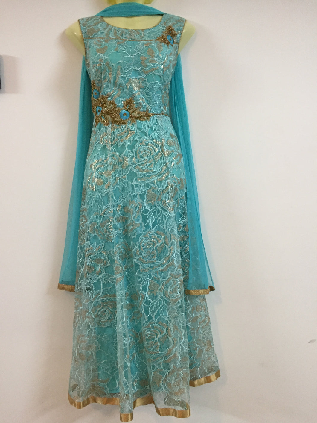 Embroided and Stone Worked Shalwar (Light Blue)
