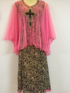 Embroided and Stone Worked Shalwar (Black, Cream & Pink)