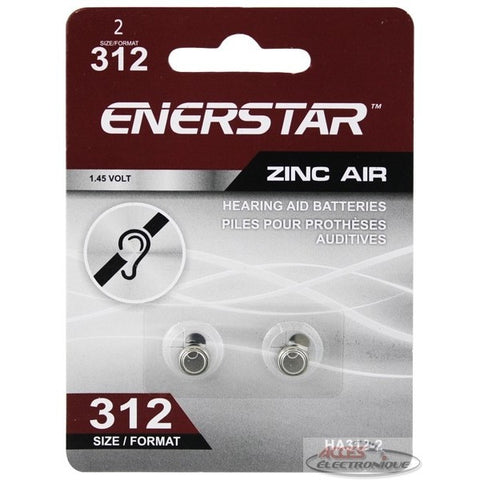 "<span lang=""fr"">Pile Zinc Enerstar pour prothèses auditives - Format 312 (2 unités)</span><span lang=""en"">Enerstar Hearing Aid Batteries Zinc-air - Size 312 (2 units)</span>"