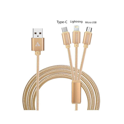 "<span lang=""fr"">Câble 3-en-1 USB-A à USB-C, Micro USB et Lightning</span><span lang=""en"">3-in-1 USB-A Cable to USB-C, Micro USB & Lightning</span>"