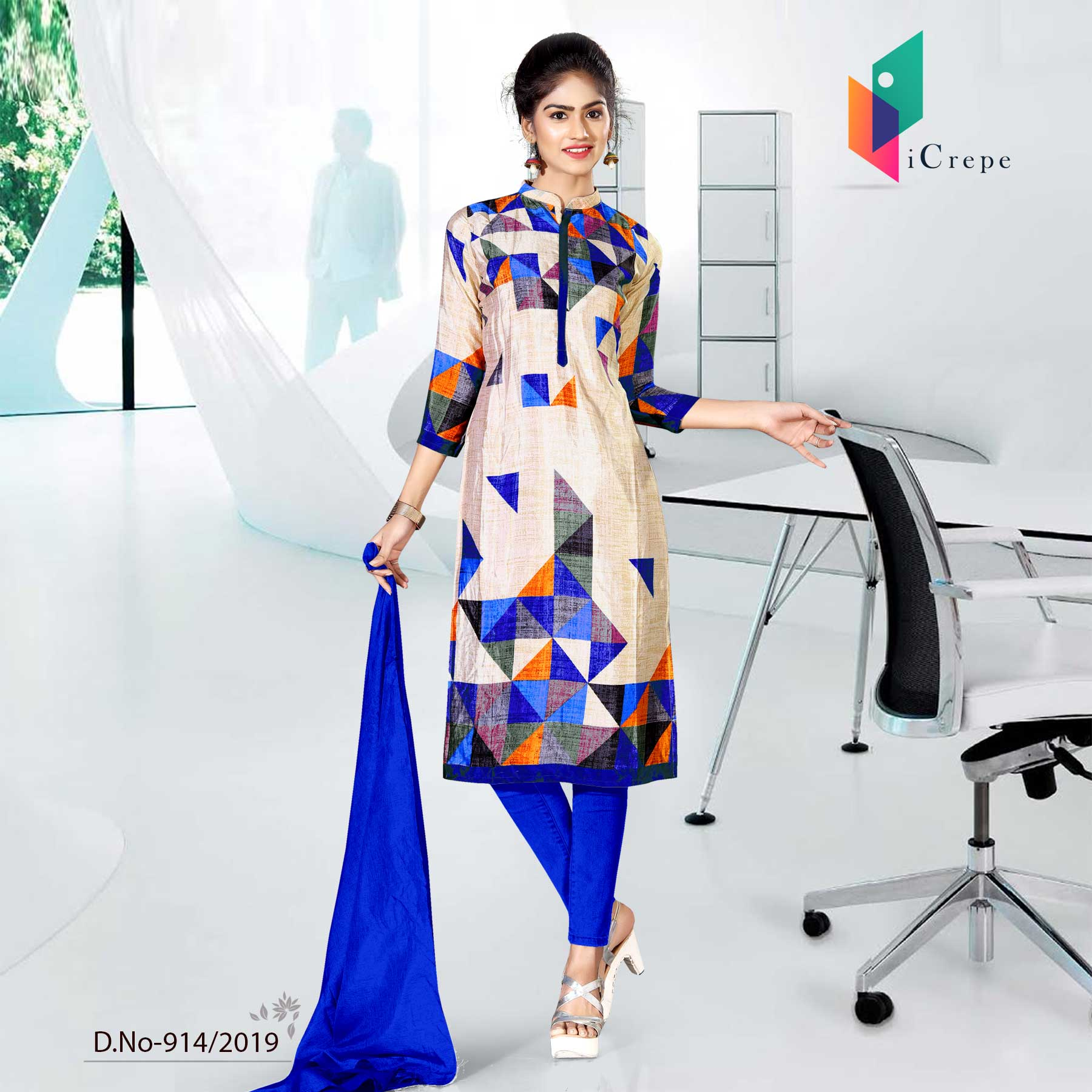 WHITE AND BLUE CREPE SILK CORPORATE UNIFORM SALWAR KAMEEZ