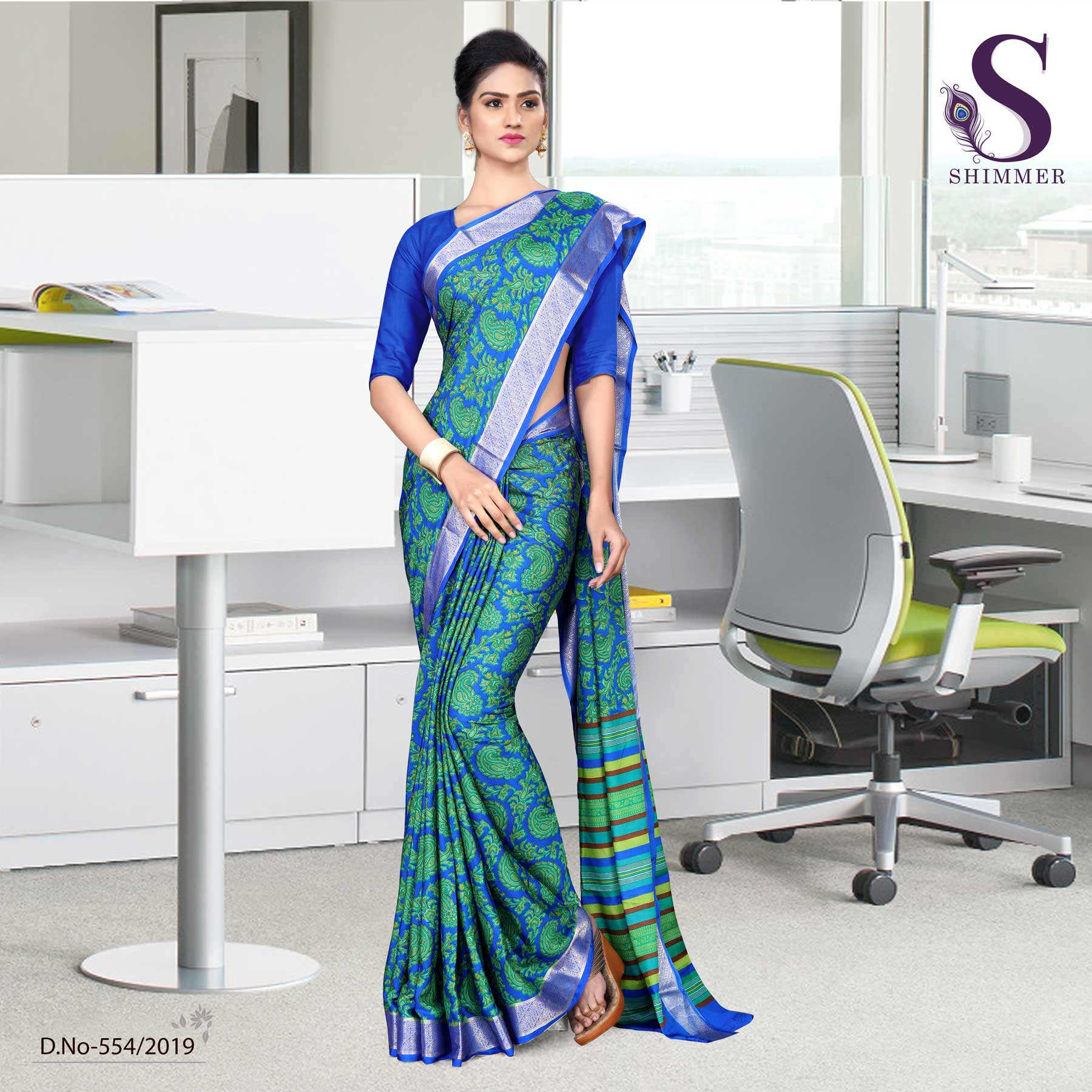 Green blue silk crepe jaquard border teachers uniform sarees