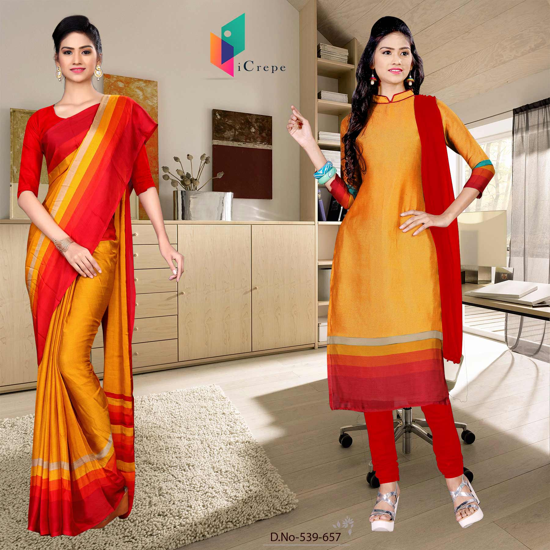 Orange and red italian crepe silk showroom uniform saree salwar combo