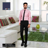 Pink Micro Stripes Corporate Uniform Shirt and Black Trousers Unstitched Fabrics Set